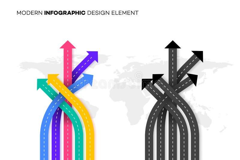 概念性更好的选择 与交叉路的传染媒介例证在Worldmap 您的现代Infographic的模板 图库摄影