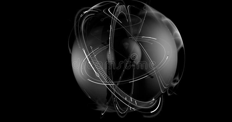 概念性未来派球形的场面在黑背景中 向量例证