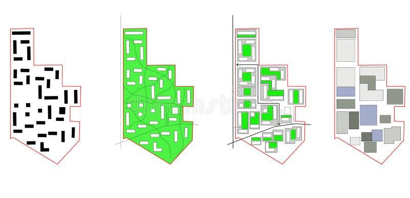 概念性模式,城市映射 免版税库存图片