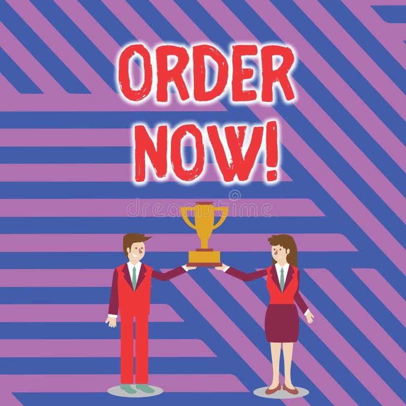 现在显示命令的文本标志 概念性照片由一个党的被证实的请求到另一个对买进卖出男人和妇女  向量例证