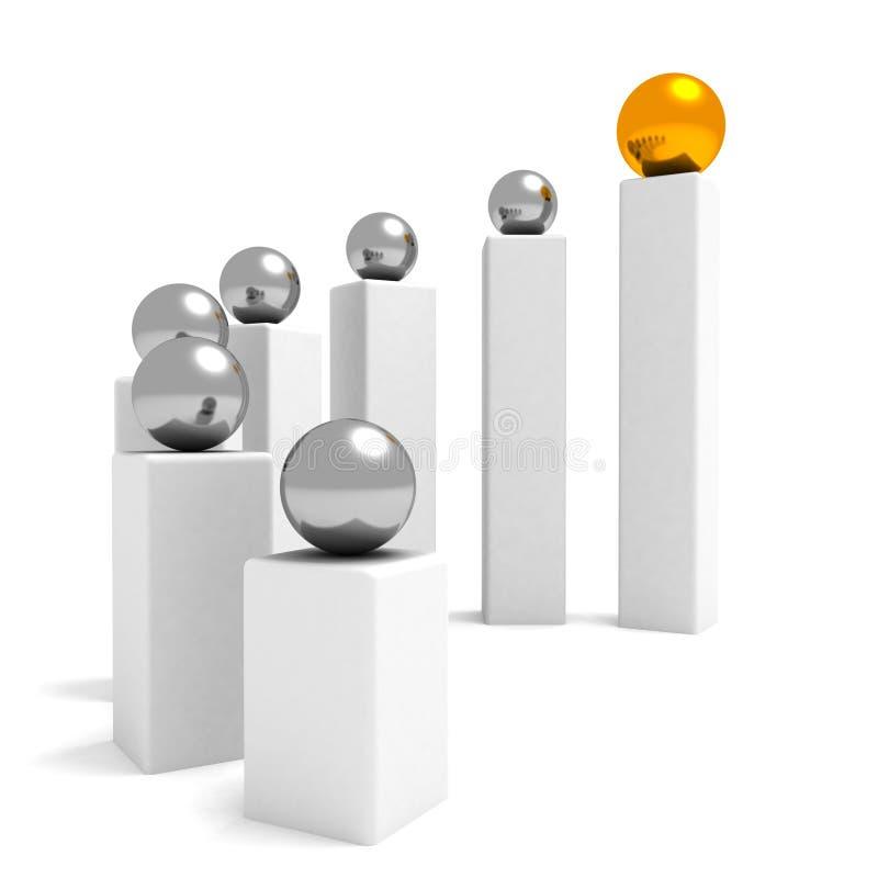 概念性绘制领导配合 向量例证