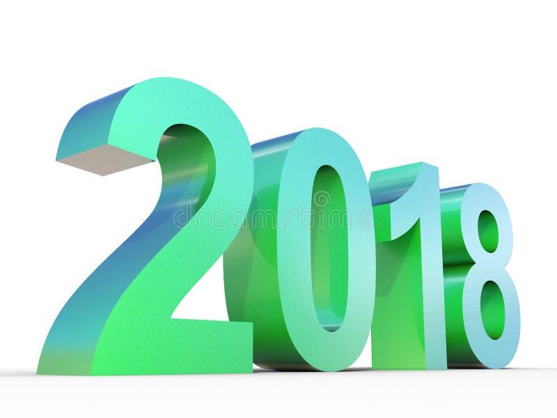 概念性2018年发光的绿色金属字体 向量例证