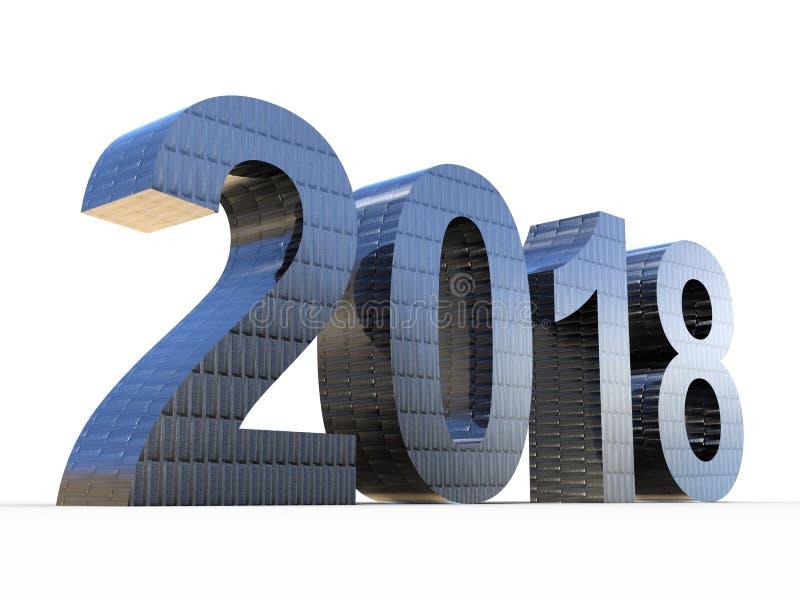 概念性2018年碳纤维年发光的灰色金属 库存例证