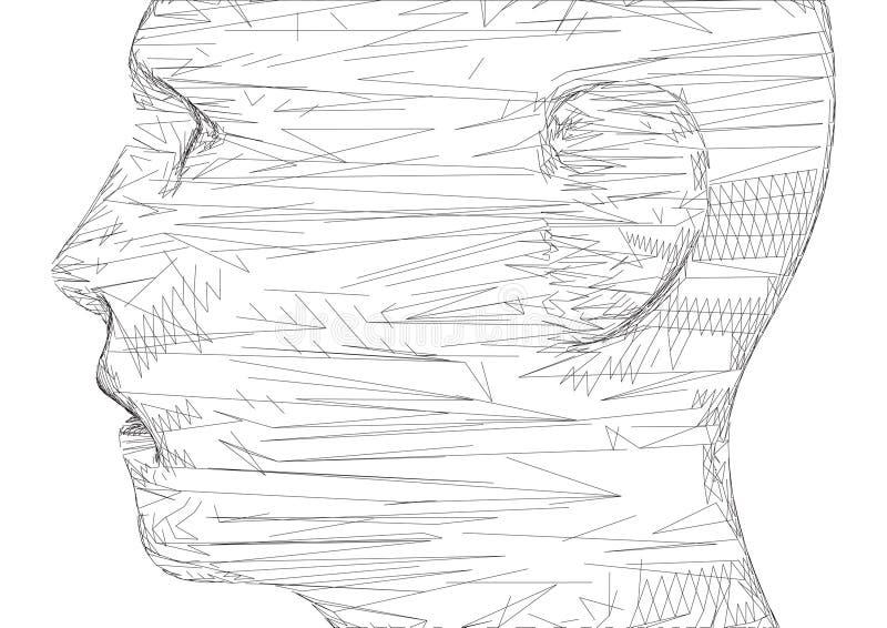 概念性3D导线框架人的男性头 库存例证