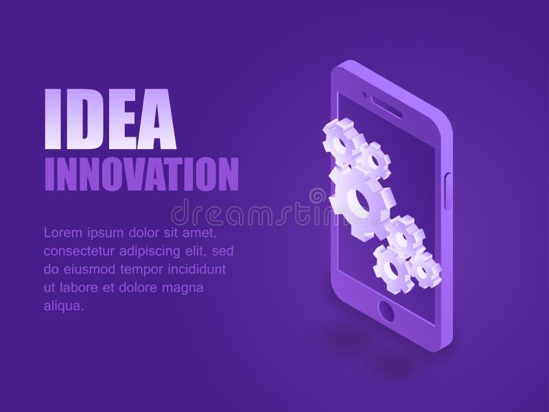 概念想法创新例证等量屏幕着陆页 向量例证