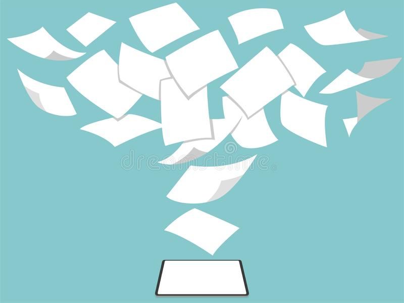 概念想法白色无纸进入绿色飞行赞成新的片剂 库存例证