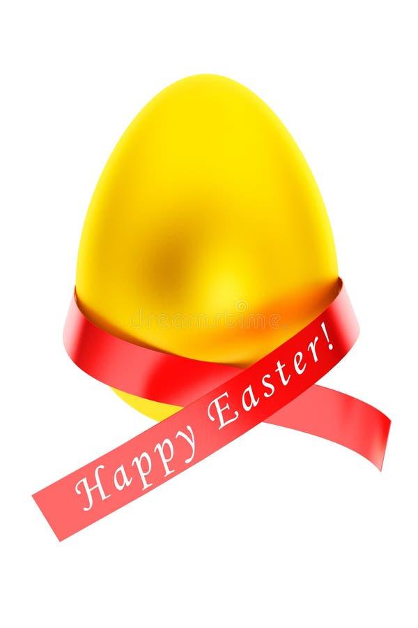 概念愉快的复活节 与丝带的复活节金黄鸡蛋 库存例证