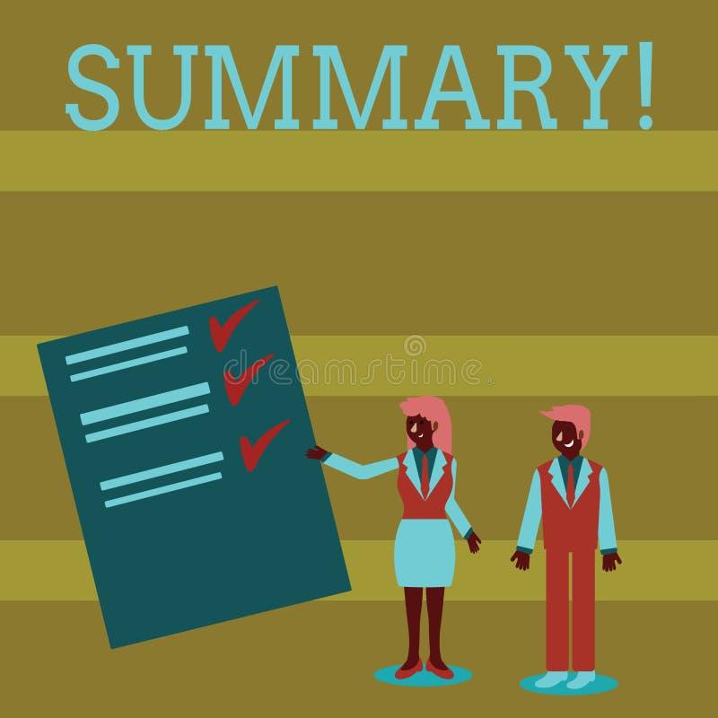 手写文本总结 概念意思某事的要点简短声明或帐户主题男人和妇女 库存例证