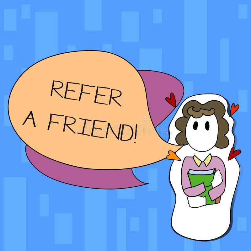 手写文本写提到一个朋友 概念意思直接某人到另一个或送他某事象礼物女孩 库存例证