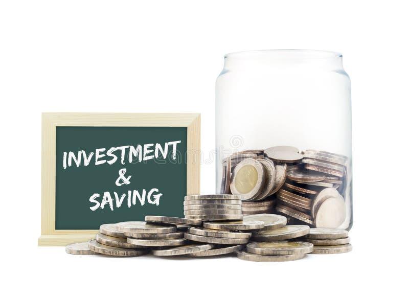 概念投资&挽救硬币堆 免版税库存图片