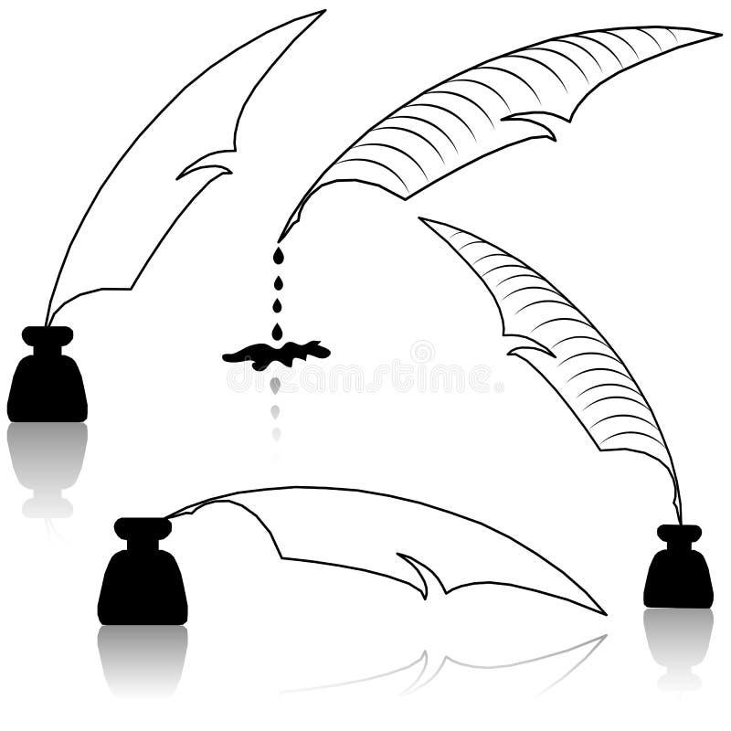 概念教育羽毛墨水池集 向量例证