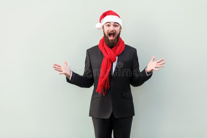 概念新年度 商人画象在新年帽子的,与 图库摄影