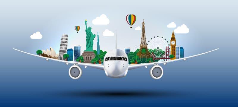 概念旅行在飞机的世界 库存例证