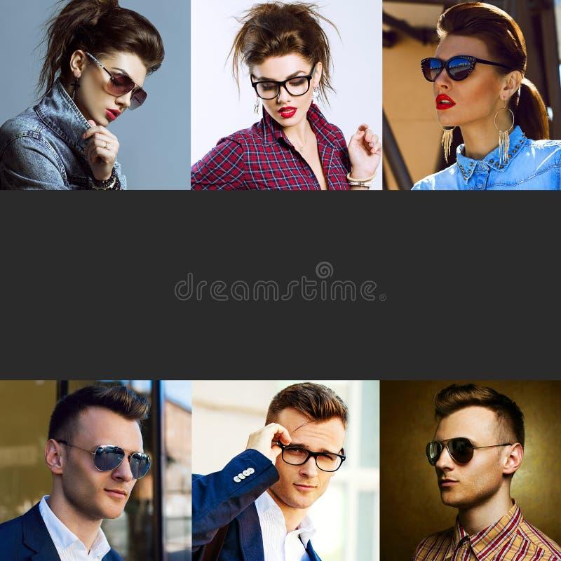 概念时尚秀丽女性和男性 年轻wo拼贴画  免版税库存照片