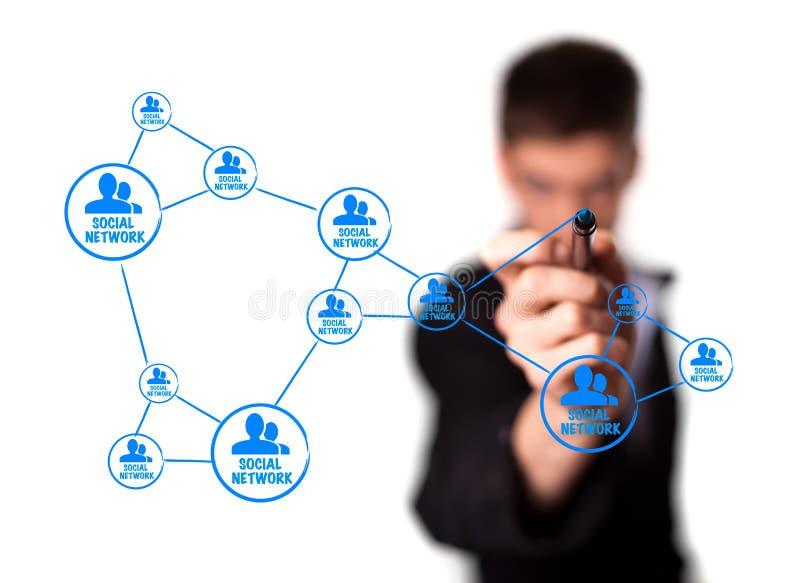 概念显示社交的绘制网络连接 免版税库存照片