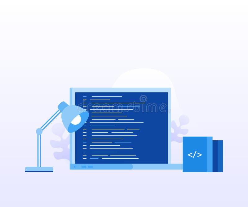 概念有节目代码的膝上型计算机屏幕网页的,横幅,介绍,社会媒介,文件 向量例证