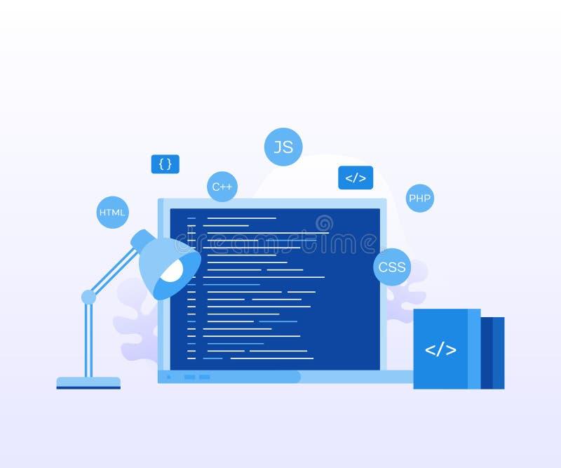 概念有节目代码的膝上型计算机屏幕网页的,横幅,介绍,社会媒介,文件 免版税库存照片