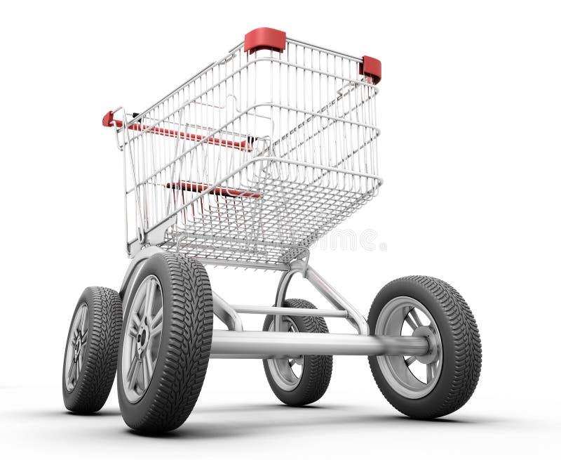 概念有车轮的购物车 皇族释放例证