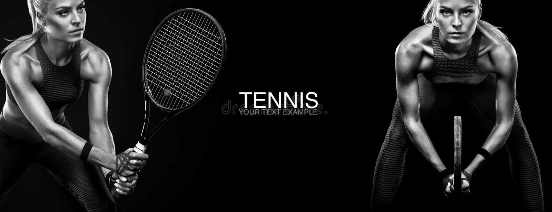 概念查出的体育运动白色 炫耀女子有球拍的网球员 复制空间 北京,中国黑白照片 网球海报 免版税库存图片