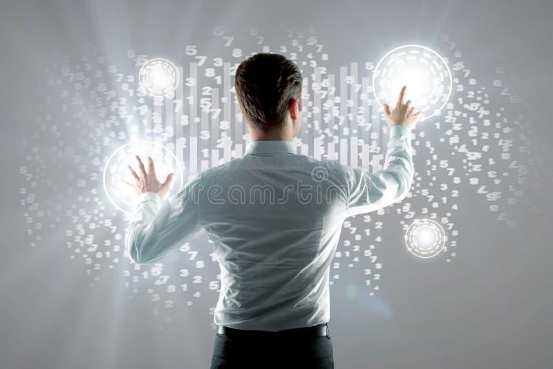 概念查出的技术白色 库存照片