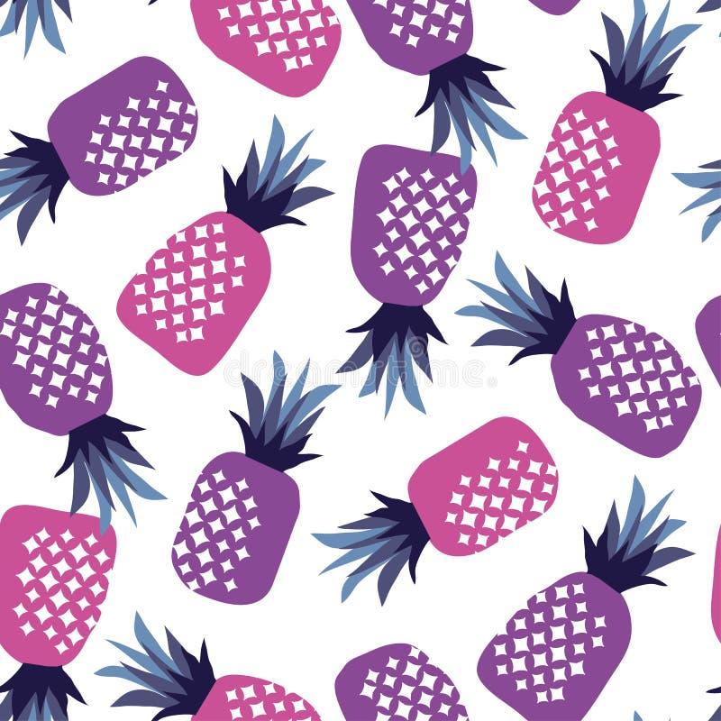 概念桃红色和紫外菠萝无缝的样式 皇族释放例证