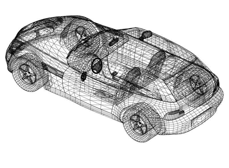 """概念汽车图纸†""""3D透视 向量例证"""