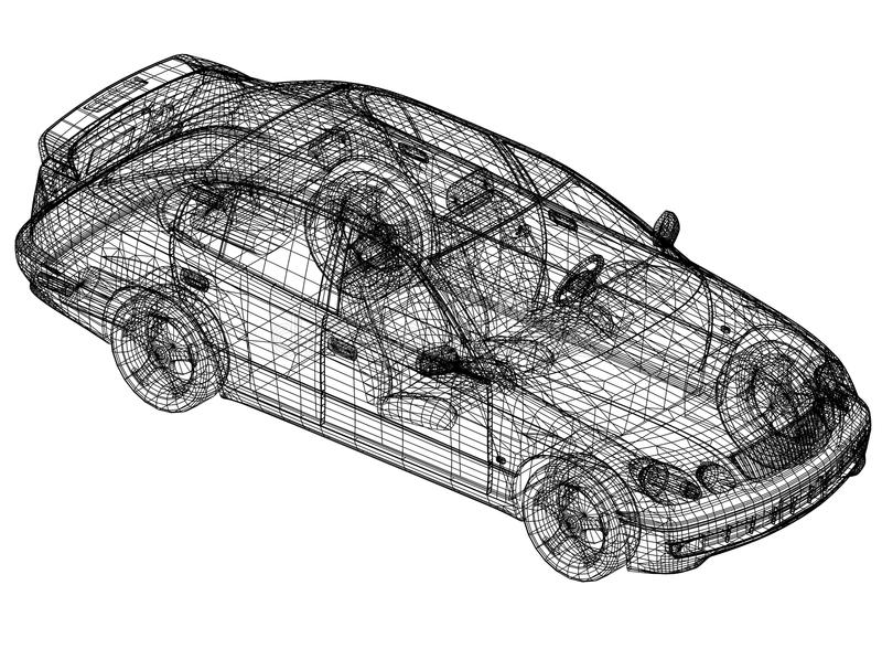 """概念汽车图纸†""""3D透视 库存例证"""