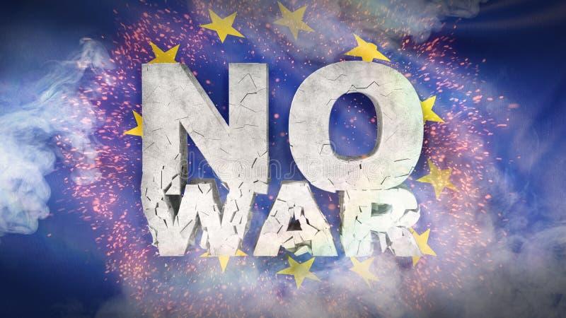 概念没有战争 欧洲国旗  3d例证 向量例证