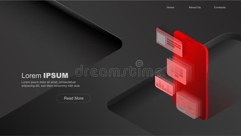 概念流动用法,个人数据 网站的倒栽跳水有在黑和红色背景的智能手机和模块概念的 向量例证
