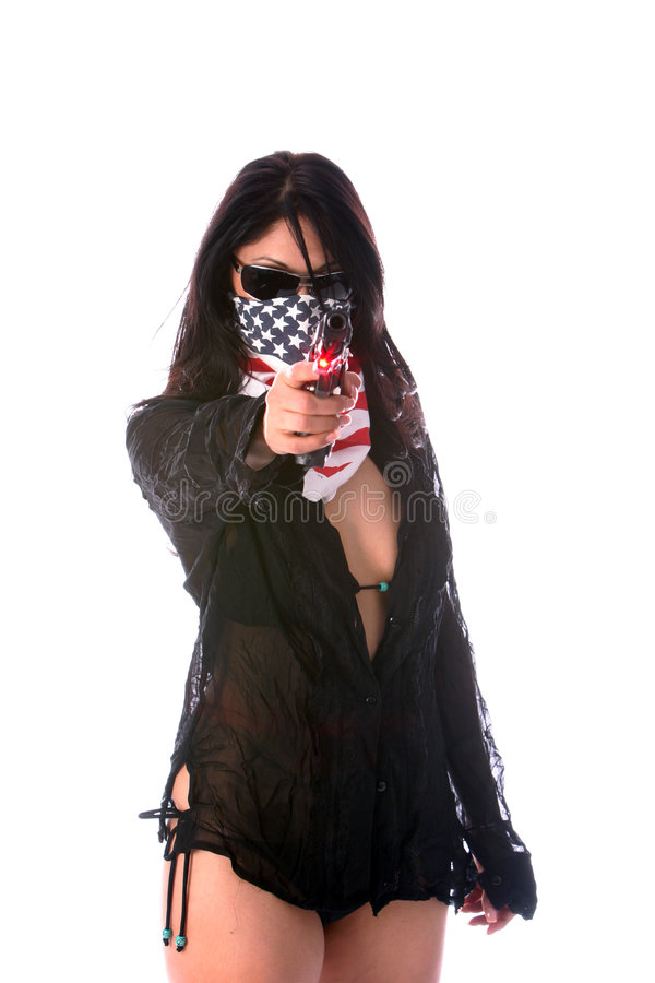 概念热女孩的枪 库存照片