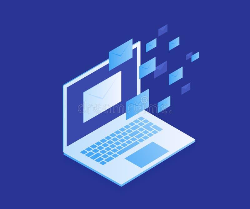 概念电子邮件保护,反malware软件网站横幅  电子邮件兜售信息攻击 抗病毒软件,互联网安全 库存例证