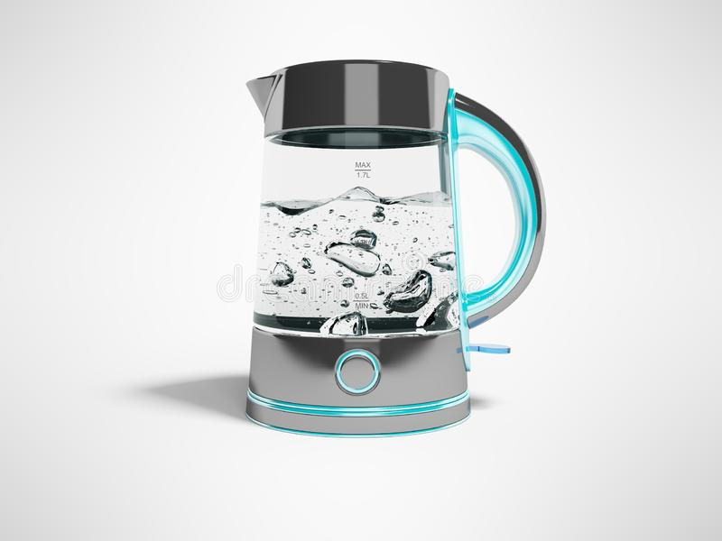 概念电烧水壶,带按钮的支架,沸腾水前视图3d,在灰色背景上用阴影画图 库存例证