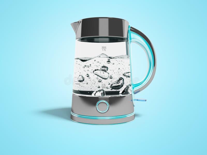 概念电烧水壶,带按钮的支架,沸腾水前视图3d,用阴影在蓝色背景上画图 向量例证
