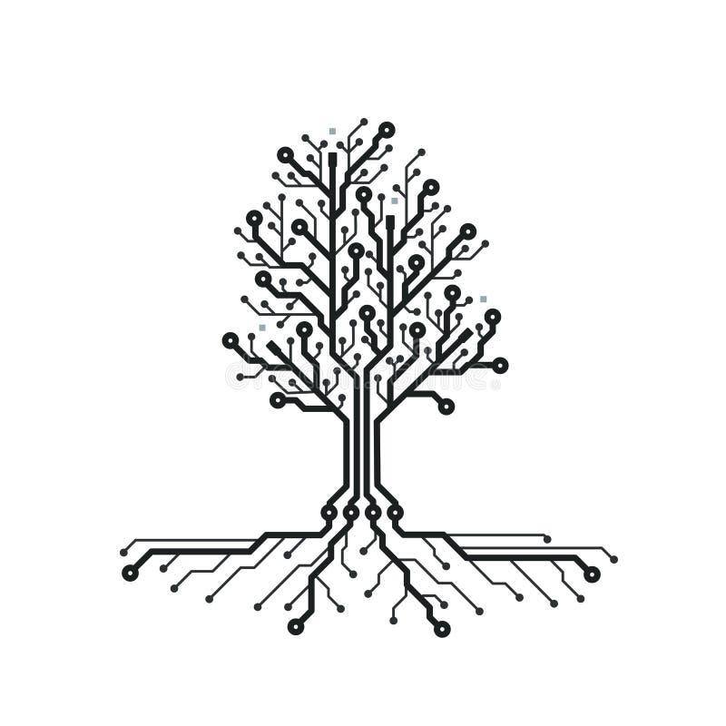 概念电路板树 与技术树的未来派背景 PCB 抽象黑色设计例证纹理白色 也corel凹道例证向量 库存例证