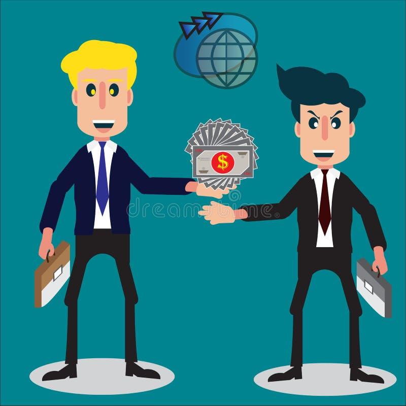 概念的国际贸易交涉与两商人的 图库摄影