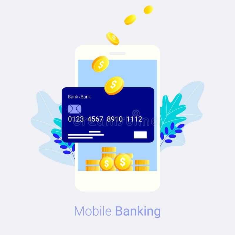 概念移动现款支付电话 库存例证