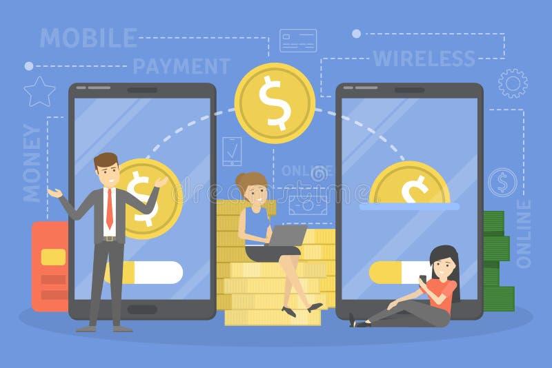 概念移动现款支付电话 在数字设备的金钱交易 向量例证
