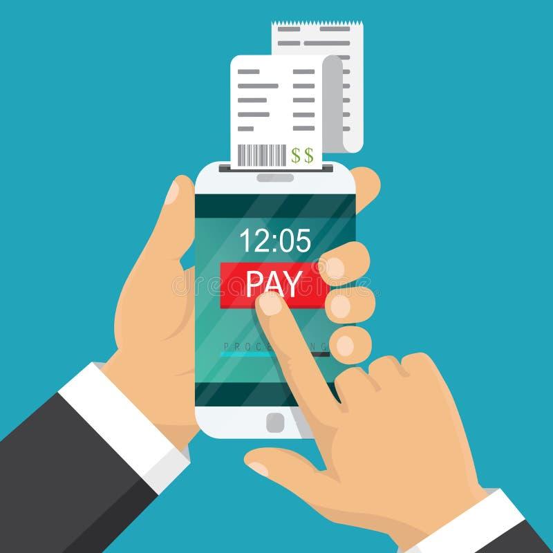 概念移动现款支付电话 现有量藏品电话 智能手机 库存例证