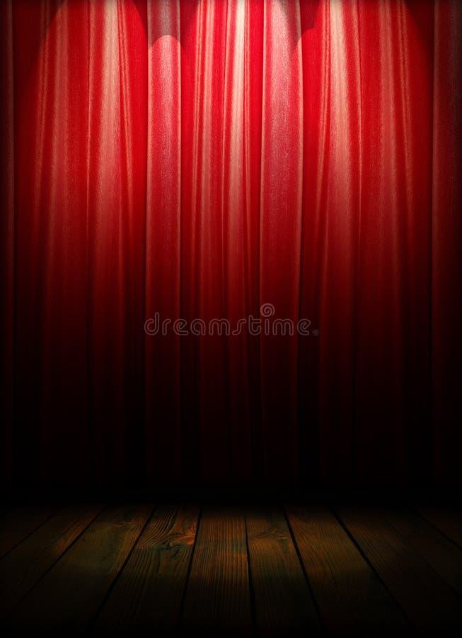 概念窗帘介绍红色显示阶段剧院 向量例证