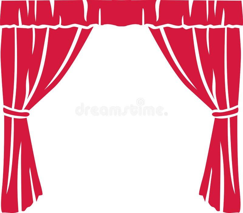 概念窗帘介绍红色显示阶段剧院 库存例证