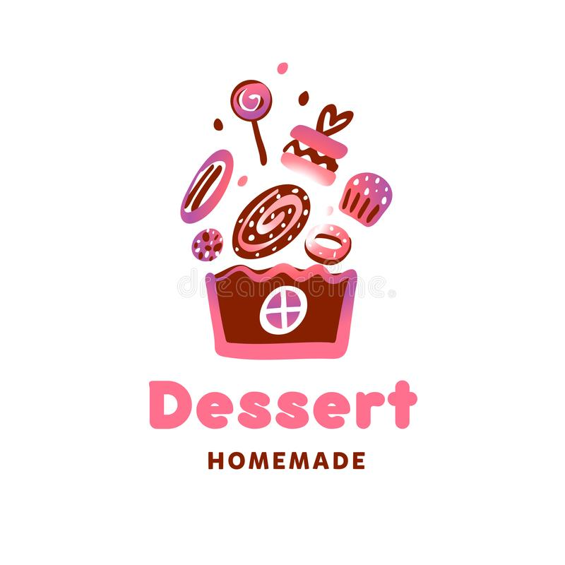 概念糖果店的,面包店,糖果商店模板商标 联系人 皇族释放例证
