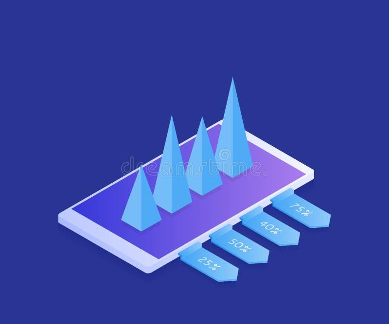 概念经营战略和逻辑分析方法 在事务的成功 现代3d等量平的设计 也corel凹道例证向量 库存例证