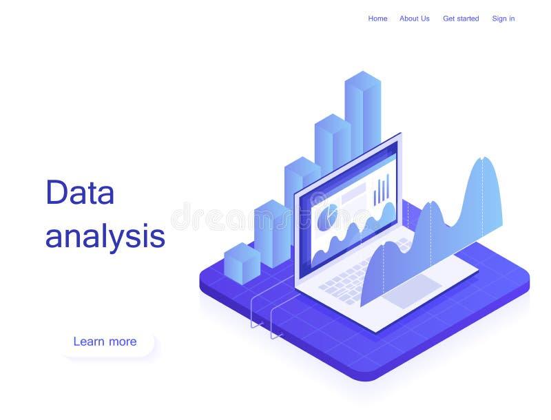 概念经营战略 分析数据和投资 企业概念查出的成功白色 在等量样式的现代传染媒介例证 免版税库存照片
