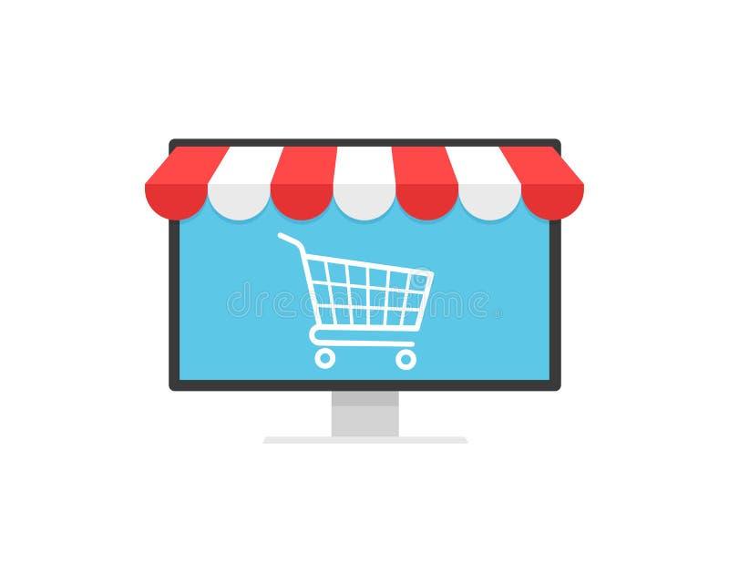 概念网上购物、推车象在显示器和店面遮篷 电子商务,网上购物,电子商务,互联网 皇族释放例证