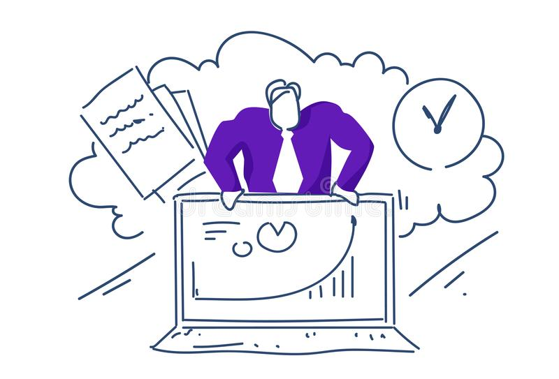 概念网上顾问人的商人举行膝上型计算机财政图表箭头上色了剪影剪影乱画 向量例证