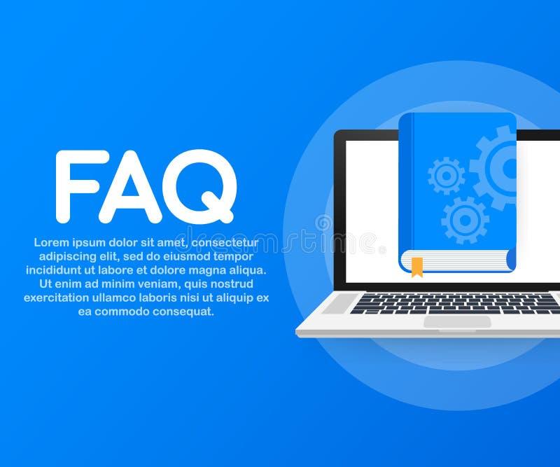 概念网页的常见问题解答书,横幅,社会媒介 也corel凹道例证向量 向量例证