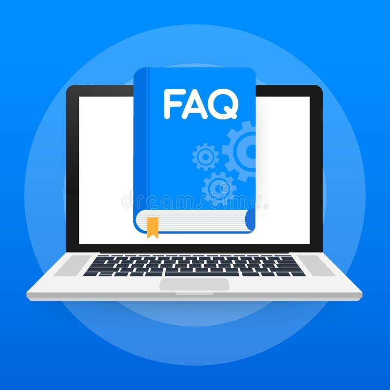概念网页的常见问题解答书,横幅,社会媒介 也corel凹道例证向量 皇族释放例证