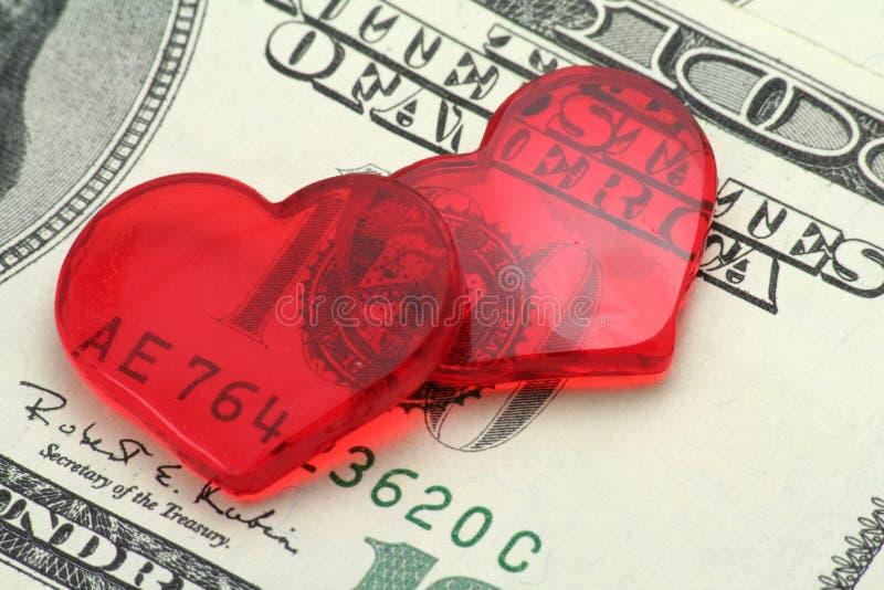 概念美元重点爱红色 免版税图库摄影