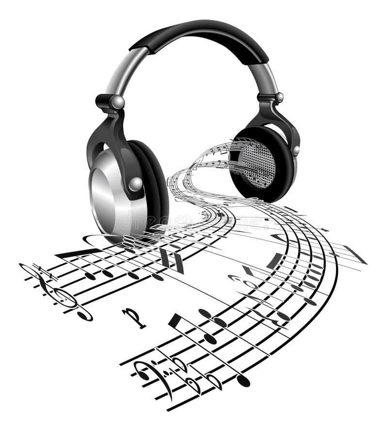 概念耳机音乐注意页 皇族释放例证