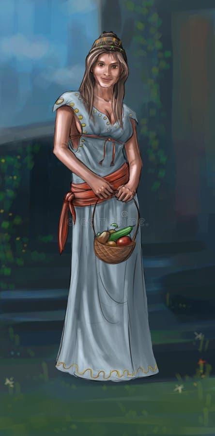 概念艺术美丽的年轻村庄妇女的幻想例证或村民或者乡下妇女或者农夫 皇族释放例证
